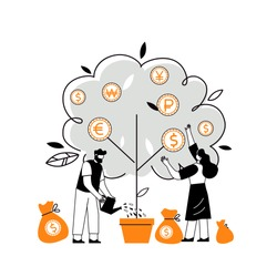 Flat vector illustration of profit from business investments. Metaphor of financial income. Investor strategy, financing concept. Characters that collect cash from the money tree.