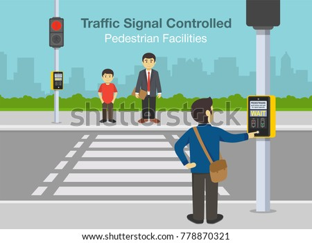 Flat vector illustration of road crossing with a traffic light. Traffic signal controlled pedestrian facilities.