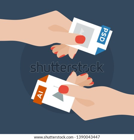 Flat Vector Illustration of Two Women Hands Exchanging File Formats. Hands Converting Different Formats. Convert PSD to AI. File Format Conversion. Flat Icons