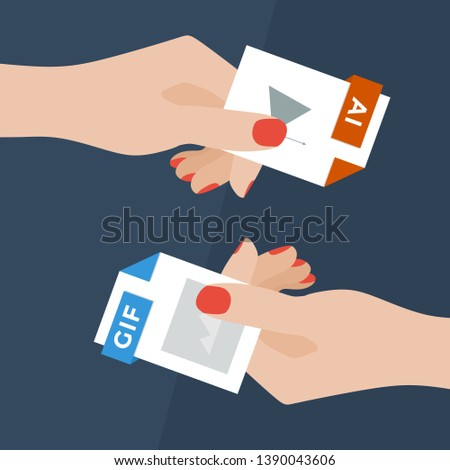 Flat Vector Illustration of Two Women Hands Exchanging File Formats. Hands Converting Different Formats. Convert AI to GIF. File Format Conversion. Flat Icons