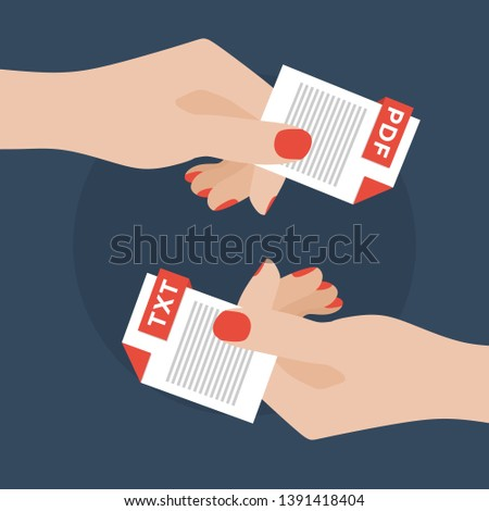 Flat Vector Illustration of Two Women Hands Exchanging File Formats. Hands Converting Different Formats. Convert PDF to TXT. File Format Conversion. Flat Icons