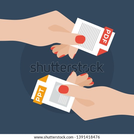 Flat Vector Illustration of Two Women Hands Exchanging File Formats. Hands Converting Different Formats. Convert PPT to PDF. File Format Conversion. Flat Icons