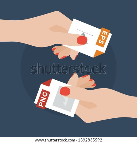 Flat Vector Illustration of Two Women Hands Exchanging File Formats. Hands Converting Different Formats. Convert EPS to PNG. File Format Conversion. Flat Icons