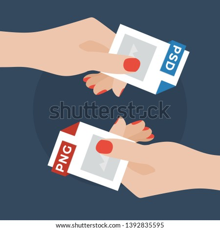 Flat Vector Illustration of Two Women Hands Exchanging File Formats. Hands Converting Different Formats. Convert PSD to PNG. File Format Conversion. Flat Icons