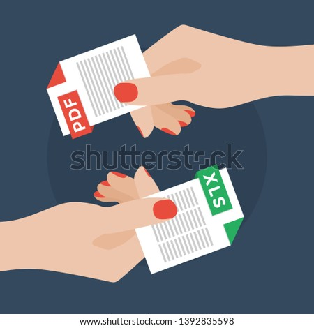Flat Vector Illustration of Two Women Hands Exchanging File Formats. Hands Converting Different Formats. Convert PDF to XLS. File Format Conversion. Flat Icons