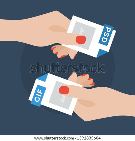Flat Vector Illustration of Two Women Hands Exchanging File Formats. Hands Converting Different Formats. Convert PSD to GIF . File Format Conversion. Flat Icons