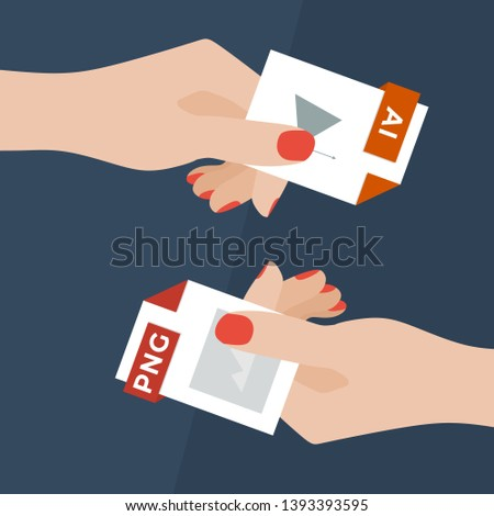 Flat Vector Illustration of Two Women Hands Exchanging File Formats. Hands Converting Different Formats. Convert AI to PNG. File Format Conversion. Flat Icons