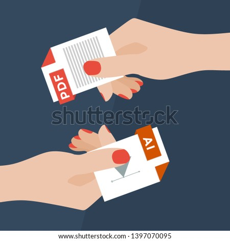 Flat Vector Illustration of Two Women Hands Exchanging File Formats. Hands Converting Different Formats. Convert PDF to AI. File Format Conversion. Flat Icons