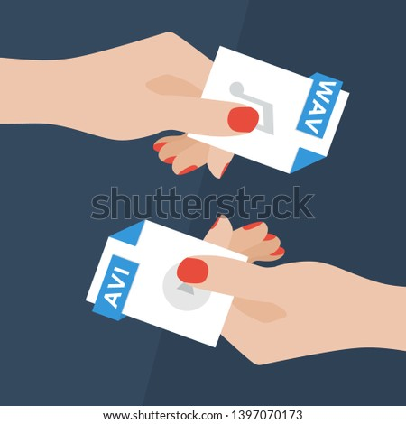 Flat Vector Illustration of Two Women Hands Exchanging File Formats. Hands Converting Different Formats. Convert WAV to AVI. File Format Conversion. Flat Icons