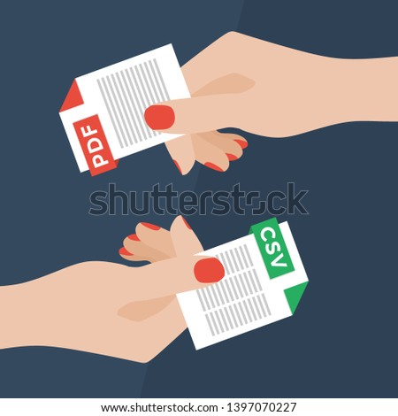 Flat Vector Illustration of Two Women Hands Exchanging File Formats. Hands Converting Different Formats. Convert PDF to CSV. File Format Conversion. Flat Icons