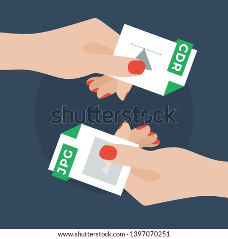 Flat Vector Illustration of Two Women Hands Exchanging File Formats. Hands Converting Different Formats. Convert CDR to JPG. File Format Conversion. Flat Icons