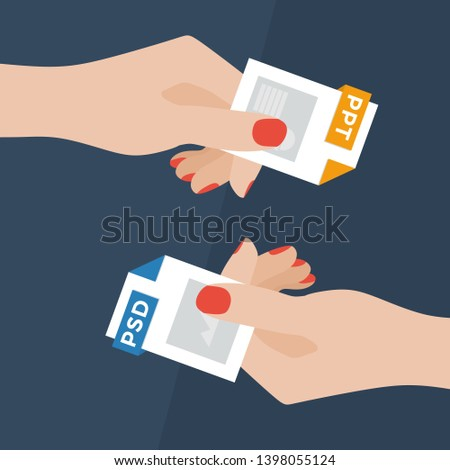 Flat Vector Illustration of Two Women Hands Exchanging File Formats. Hands Converting Different Formats. Convert PSD to PPT. File Format Conversion. Flat Icons