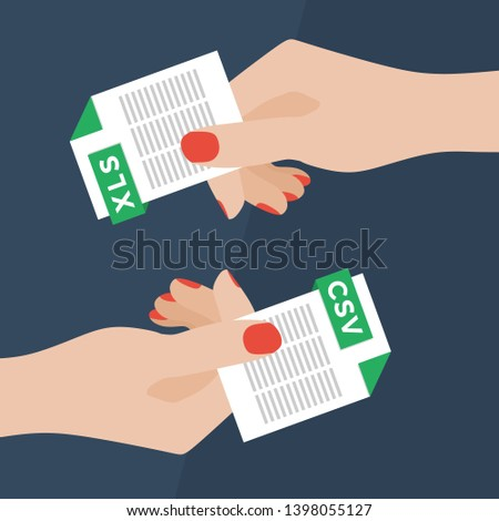 Flat Vector Illustration of Two Women Hands Exchanging File Formats. Hands Converting Different Formats. Convert XLS to CSV. File Format Conversion. Flat Icons