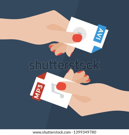 Flat Vector Illustration of Two Women Hands Exchanging File Formats. Hands Converting Different Formats. Convert AVI to MP3. File Format Conversion. Flat Icons