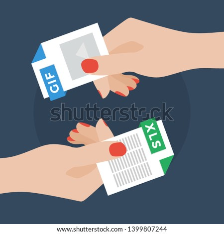 Flat Vector Illustration of Two Women Hands Exchanging File Formats. Hands Converting Different Formats. Convert GIF to XLS. File Format Conversion. Flat Icons