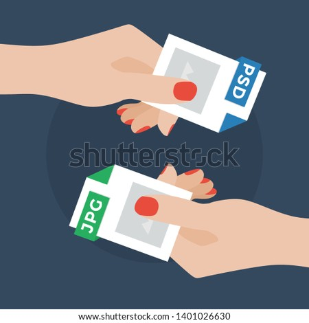 Flat Vector Illustration of Two Women Hands Exchanging File Formats. Hands Converting Different Formats. Convert PSD to JPG . File Format Conversion. Flat Icons