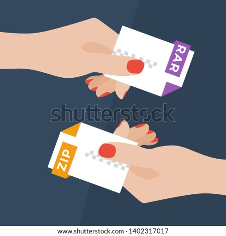 Flat Vector Illustration of Two Women Hands Exchanging File Formats. Hands Converting Different Formats. Convert RAR to ZIP. File Format Conversion. Flat Icons