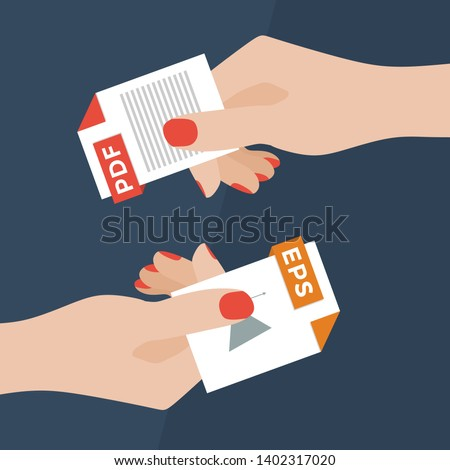 Flat Vector Illustration of Two Women Hands Exchanging File Formats. Hands Converting Different Formats. Convert PDF to EPS. File Format Conversion. Flat Icons