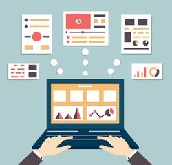 Flat vector illustration of web and application optimization, programming, design and analytics - vector illustration