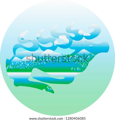 Flat vector Illustration of World Wildlife Day. Nature concept with ecology and environment conservation. Saving of environment poster or sign with mountain landscape, forest and running deer. EPS 10