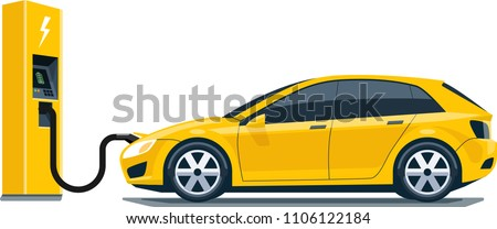 Flat vector illustration of  yellow  electric car charging at the charger station. Electro mobility e-motion concept.
