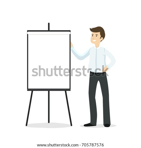 Flat vector illustration of young businessman presenting something on blank flipchart isolated on white background