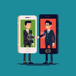 Flat vector illustration on digital native business with two businessmen interacting with each other through mobile device displays. Online communication, software and application solutions