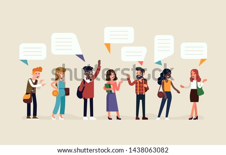 Flat vector illustration on talking and discussion. Diverse group of positive characters talking to each other. Different people in conversation and interaction poses