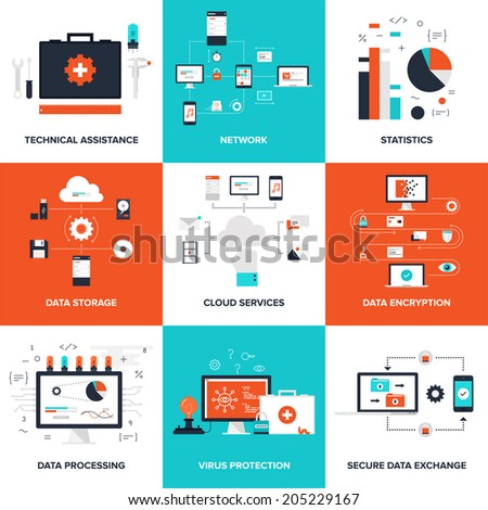 Flat vector illustration on technical service, cloud computing, big data, virus protection data, processing and security theme.
