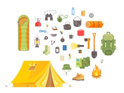 Flat Vector Illustration set of Camping and Hiking objects. Tourist equipment. Hiking outdoor elements kit. Camping gear symbols and icons collection. Tent, map, compass, backpack, flashlight, fire
