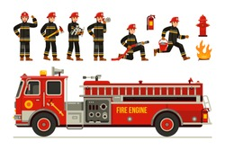 flat vector illustration set of fire engine truck and fireman