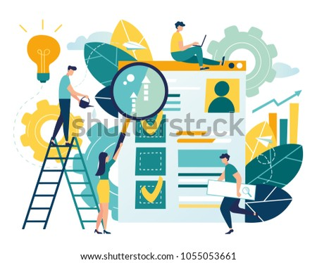 Flat vector illustration, web site development, teamwork, website coding, SEO concept, search engine, design for mobile and web graphics