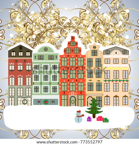 winter house christmas and happy new year greeting card