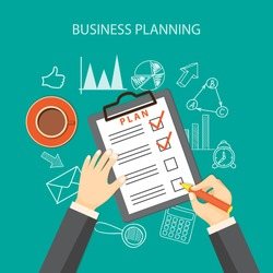 Flat  vector illustration. Writing hands  with pencil, paper of plan, cup of coffee and hand drawn business symbols. EPS 10
