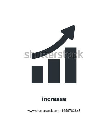 flat vector image on white background, arrow tending to the top of the rising chart, financial growth icon