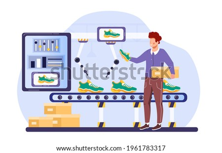 Flat vector isolated on white. Production line with worker, automation and user interface concept. Smart industry 4.0, user connecting with a tablet and sharing data with a cyber-physical system.