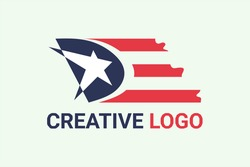 Flat vector logo element in flag style and American flag initials