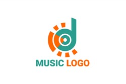 Flat vector logo element with illustrations of song notes, sound waves and eyes with the initials
