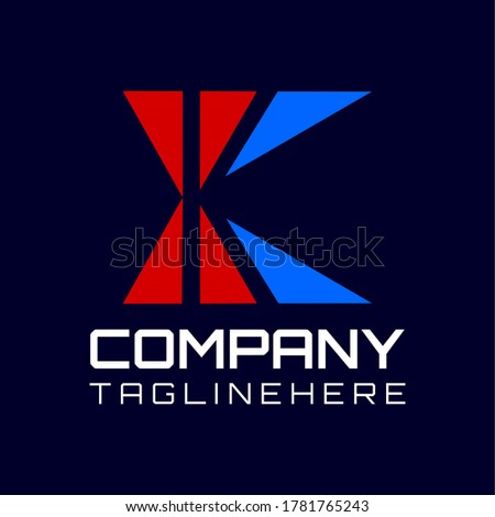 Flat vector logo for business with a arrow and square forming the initials 'K' in a dark background. Stock fotó ©