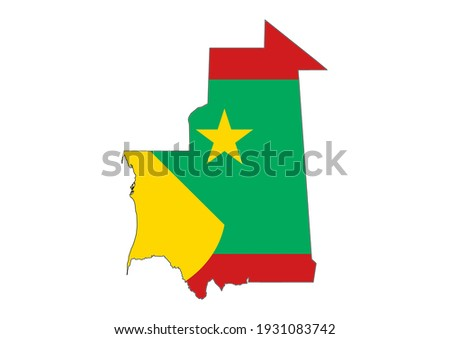 Flat vector map of Mauritania filled with the flag of the country, isolated on white background. Vector illustration suitable for digital editing and prints of all sizes. Zdjęcia stock ©