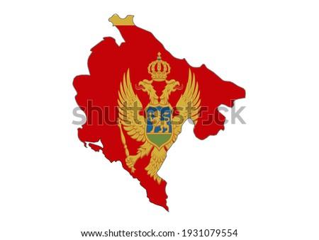 flat vector map of montenegro