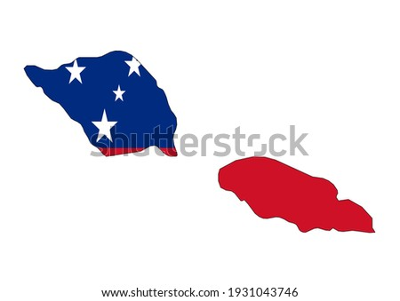Flat vector map of Samoa filled with the flag of the country, isolated on white background. Vector illustration suitable for digital editing and prints of all sizes.