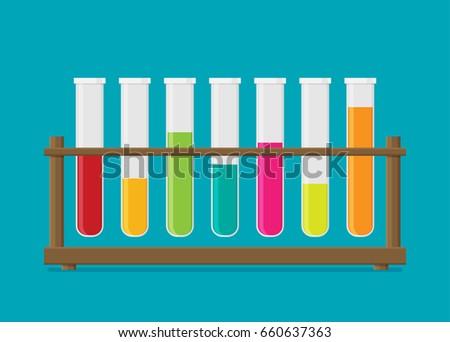 Flat vector multicolor test tubes liquid in rack. Stock photo ©