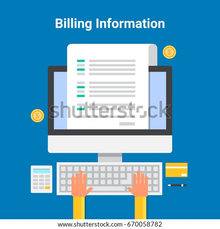 Flat vector of Billing information, online billing, software, and system