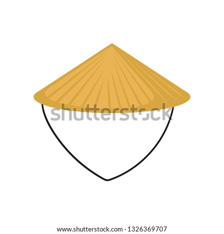 Flat vector of classic Asian conical hat made of straw. Traditional Chinese or Vietnamese headdress. Farmer s headwear