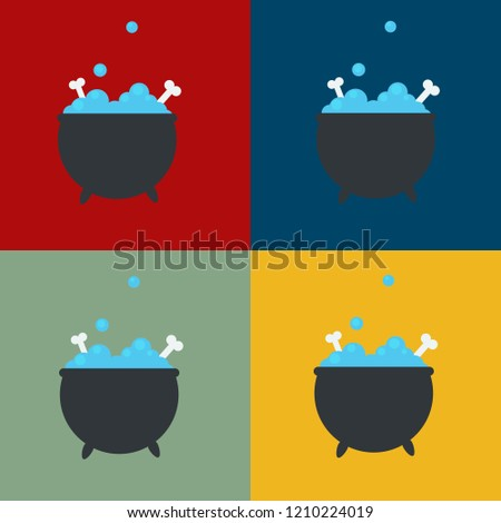flat vector of four witch