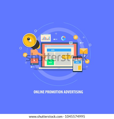 Flat vector - Online advertising - website marketing - digital content marketing flat illustration with icons