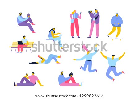 Flat Vector people isolated on white background. Leisure activities.