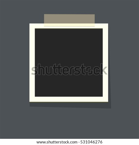 Flat vector photo frame on transparency duct tape. Template photo design.Vector illustration in simple style for design and flat motion design