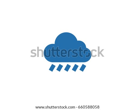 Flat vector rain cloud weather icon